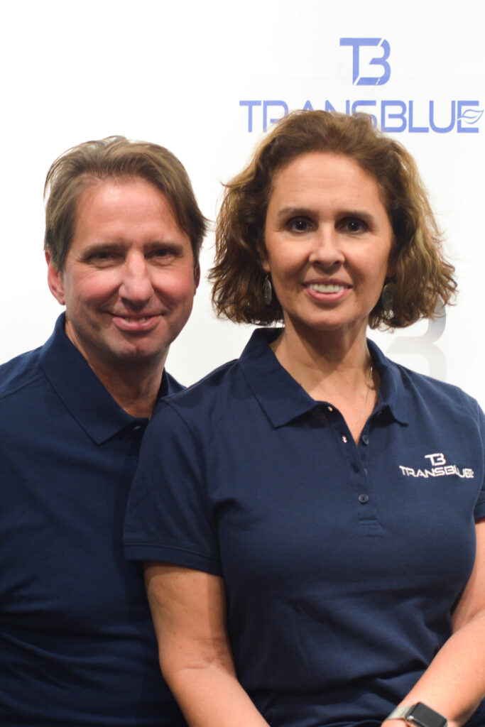 A photo of Transblue Bellevue owners Tim and Monica.