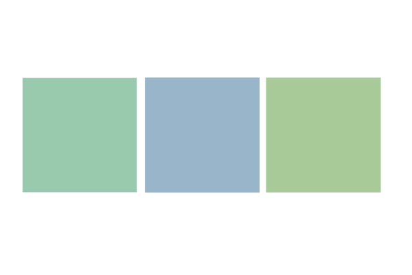 A mint green square, a light blue square, and a yellow-green square.