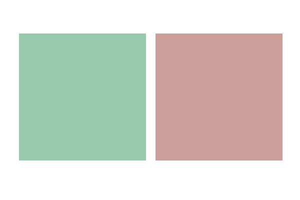A mint green square next to a mauve square.