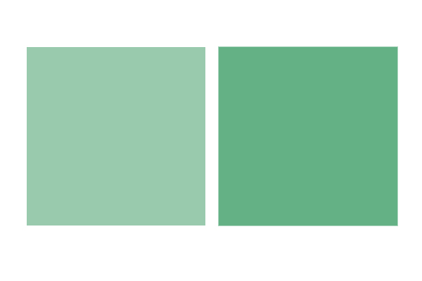 A mint green square next to a more vibrant green square.