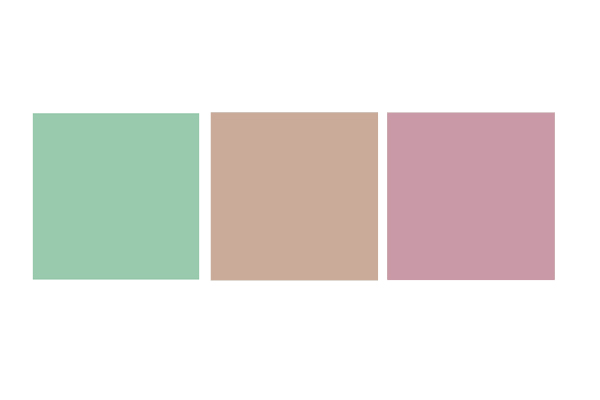 A mint green square, a tan square, and a mauve square.