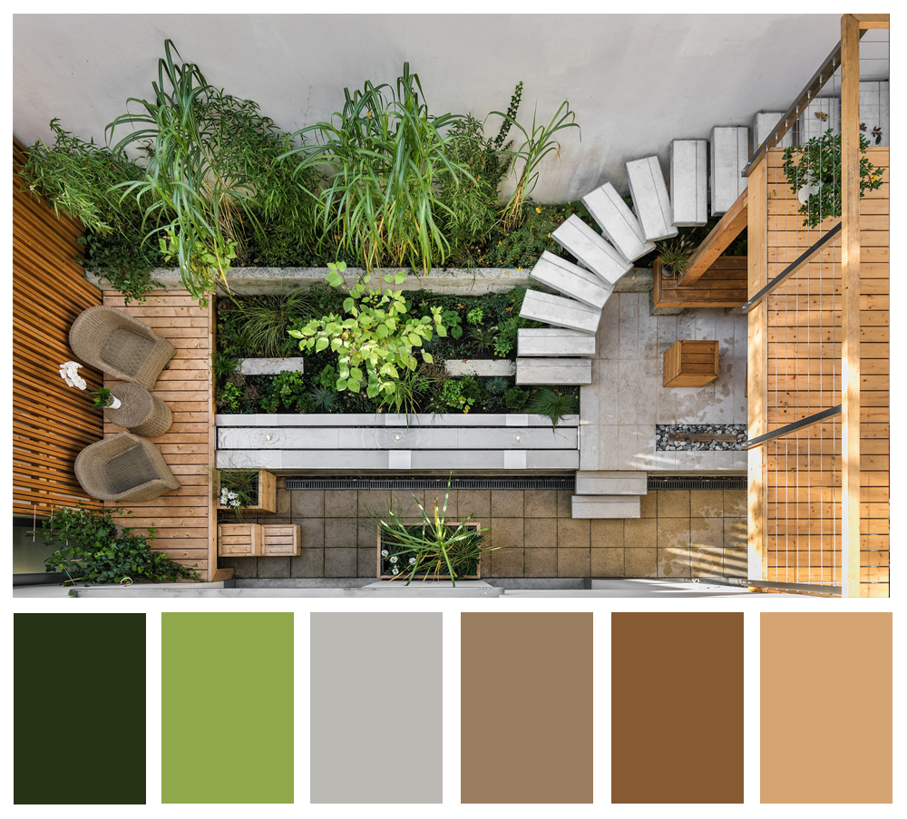 A top-down photo of a concrete and wood patio with lots of plants.