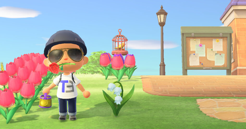 A screenshot showing an Animal Crossing villager next to a lily of the valley plant.