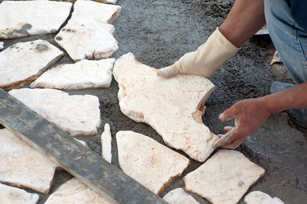 Putting white flagstone together