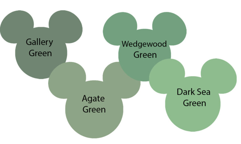 disney green variations in mickey shapes