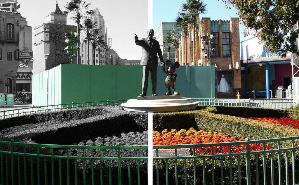 Walt Disney and Mickey statue