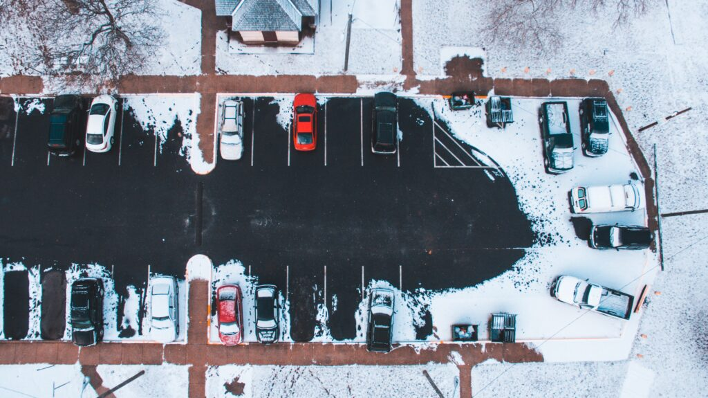 aerial view if a plowed parking lot