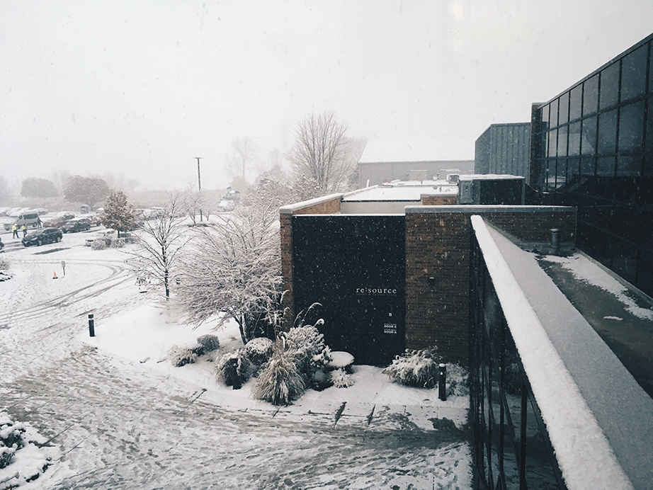 Snowing at a community center