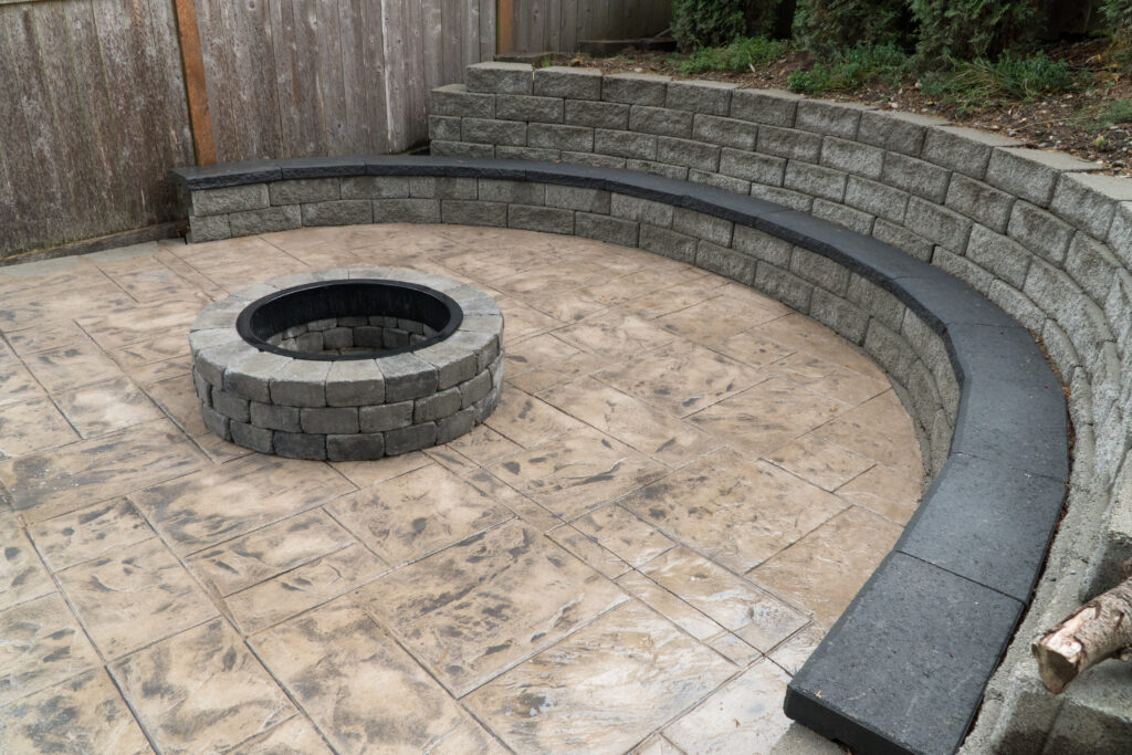 Exterior photography backyard firepit and stone bench