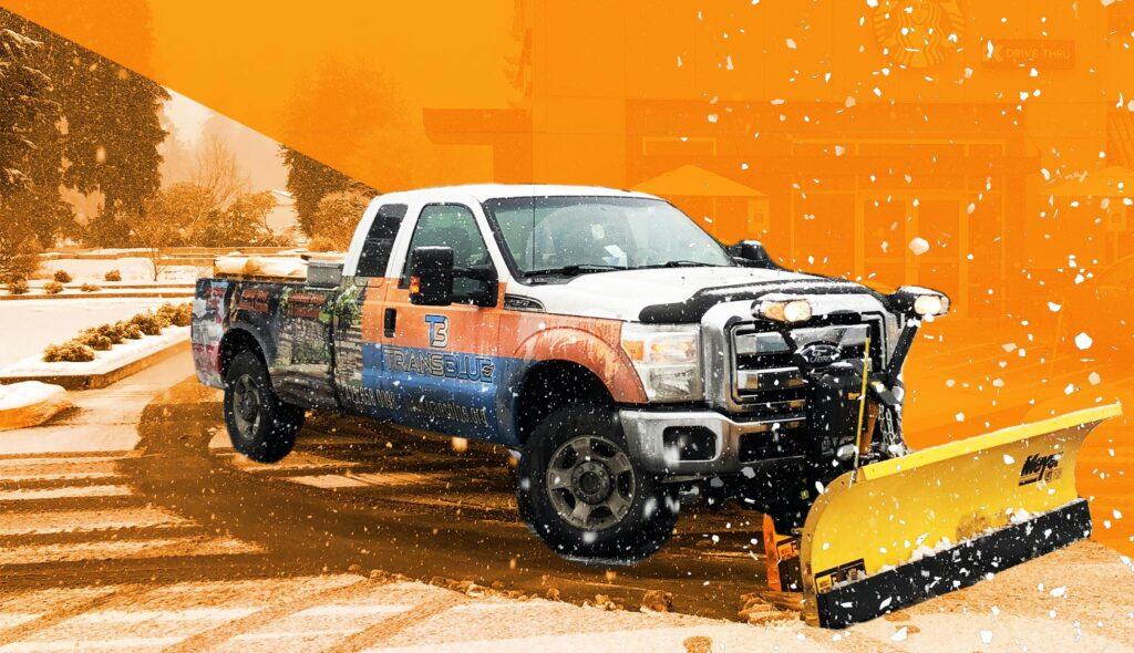 Transblue truck orange background