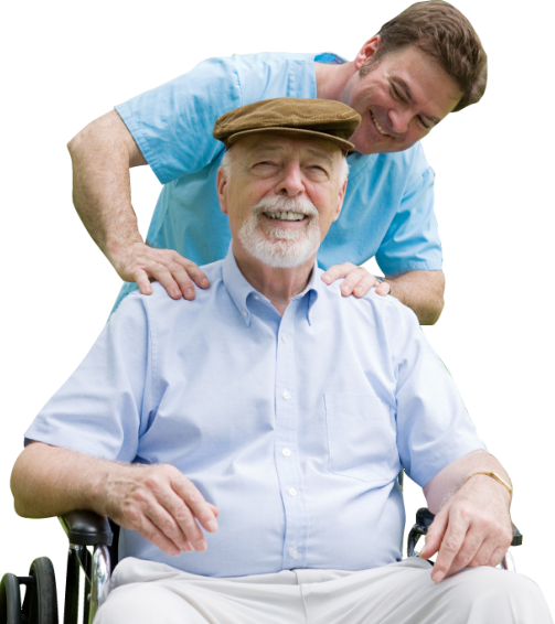caregiver and senior man