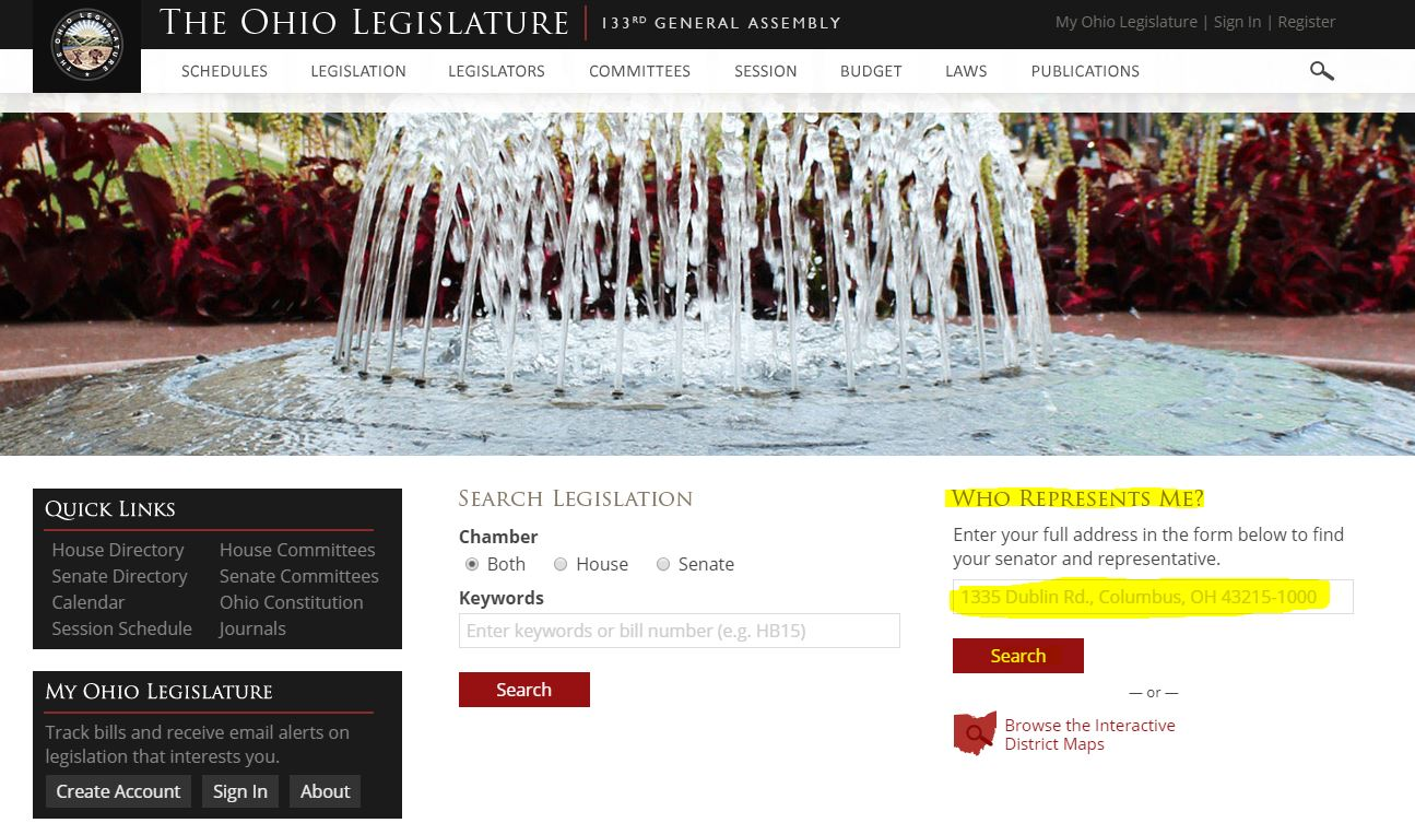 Screen shot of legislature lookup