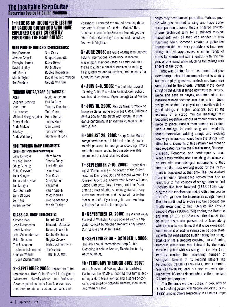 Fingerstyle Guitar Magazine - The Inevitable Harp Guitar - no.66 pg42