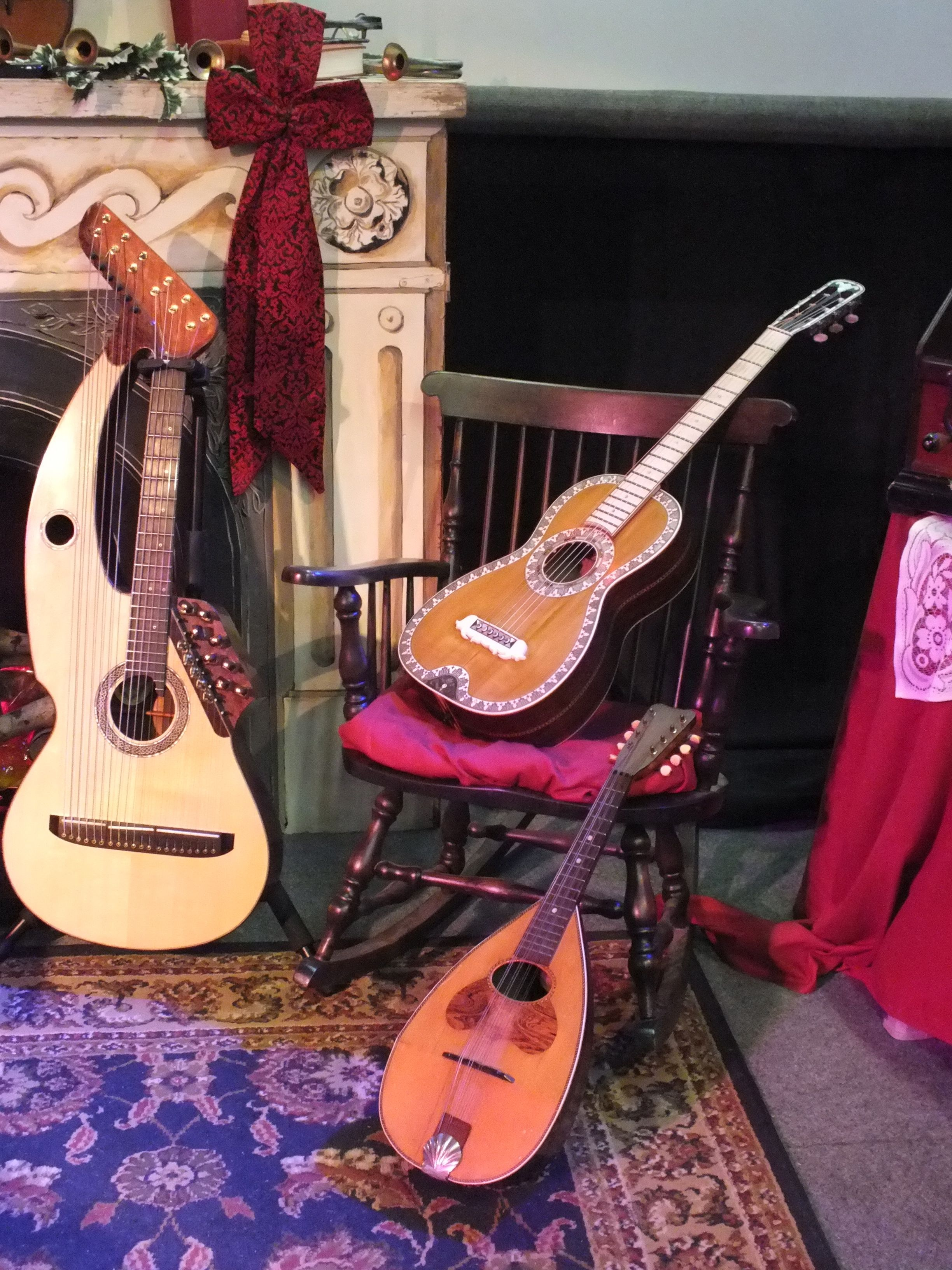 Harp Guitar, Mandoline, and accoustic guitar collection - John Doan.