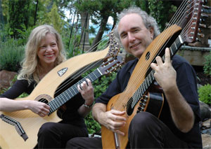John Doan and Muriel Anderson together in Harp Guitars Under the Stars album