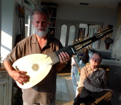 Ken proudly displays the baroque lute he made