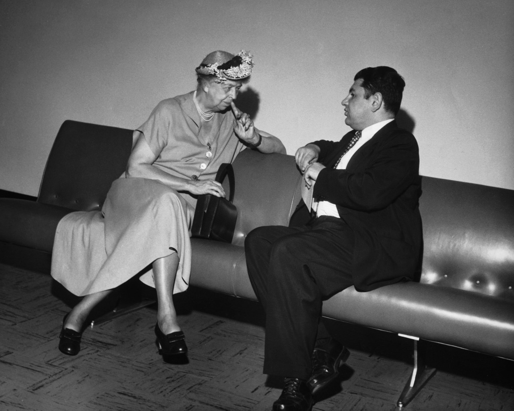 eleanor roosevelt and jacques katel at united nations 1955 - photo by raymond rosenthal
