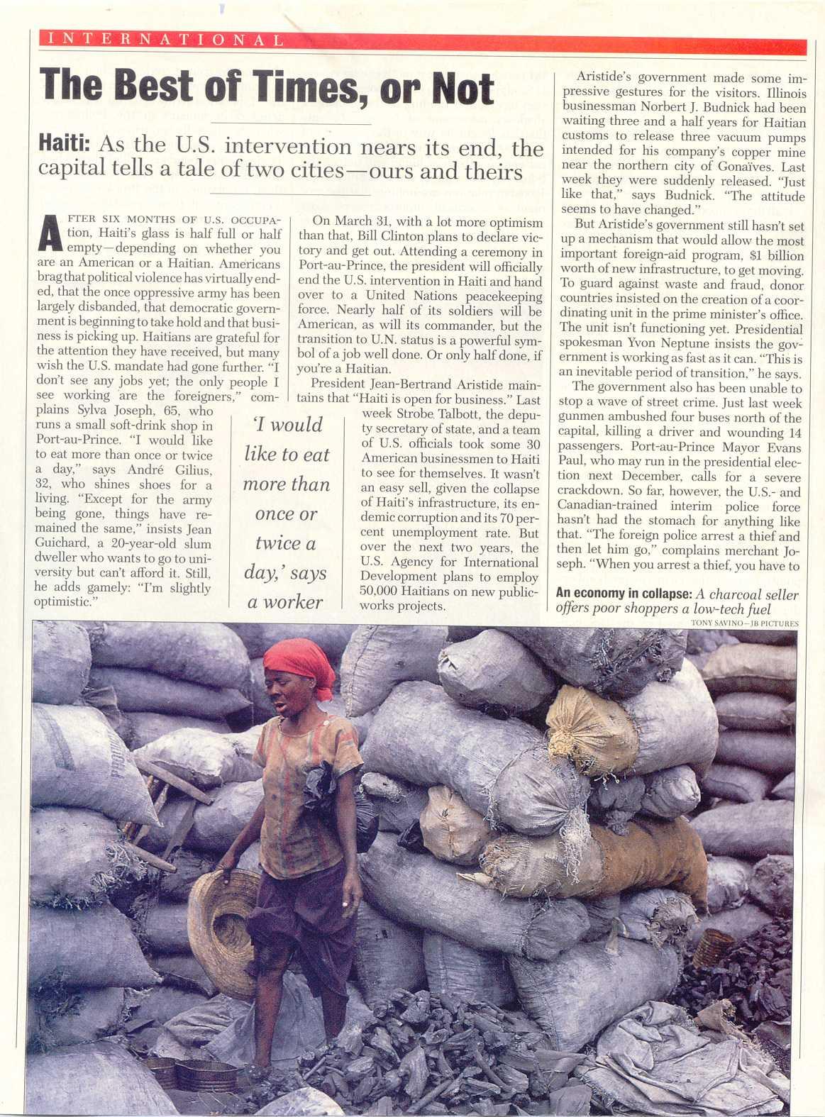 Peter Katel On The U.S. Occupation Of Haiti – Newsweek Magazine (1995)