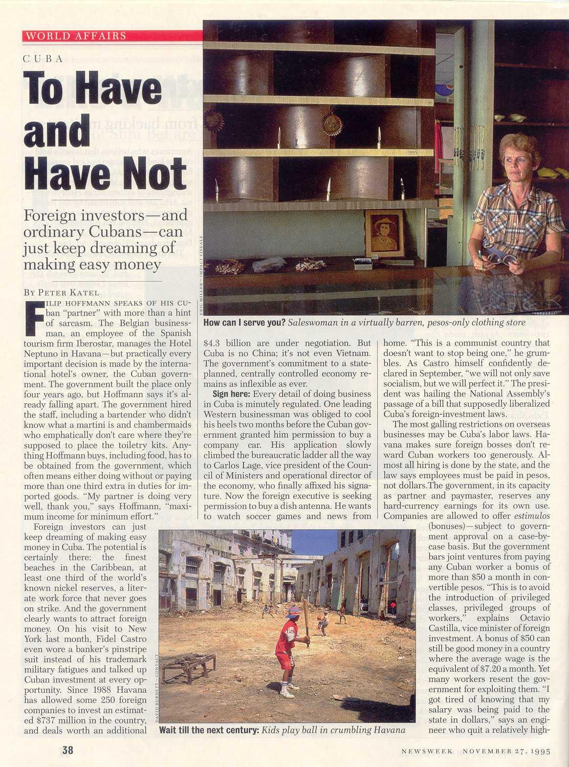 Peter Katel In Havana, Cuba – Newsweek Magazine (1995)