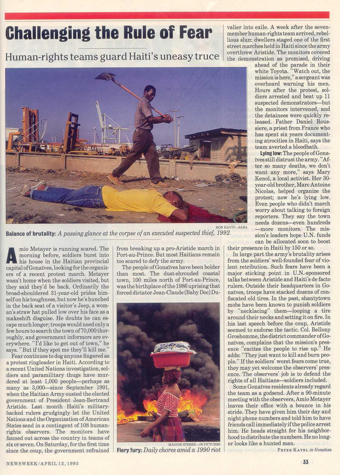 Peter Katel in Gonaives, Haiti – NEWSWEEK Magazine (1993)