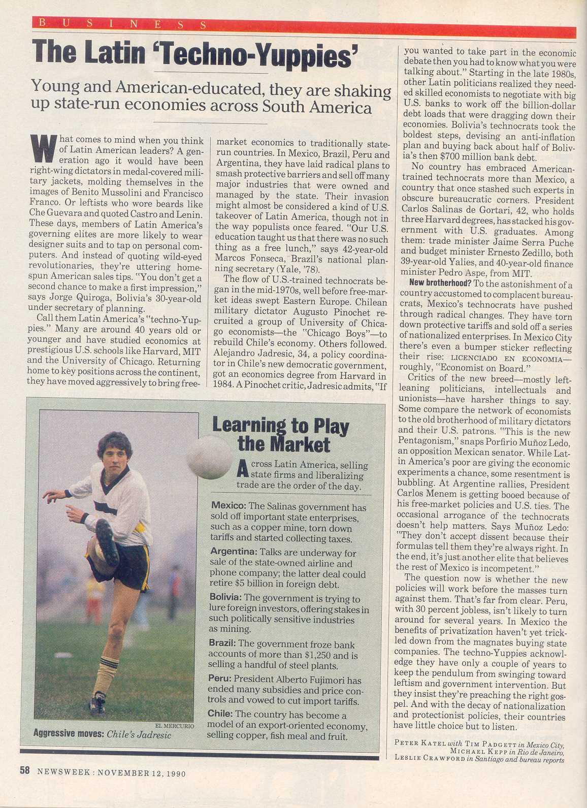 Peter Katel in Mexico City – NEWSWEEK Magazine (1990)