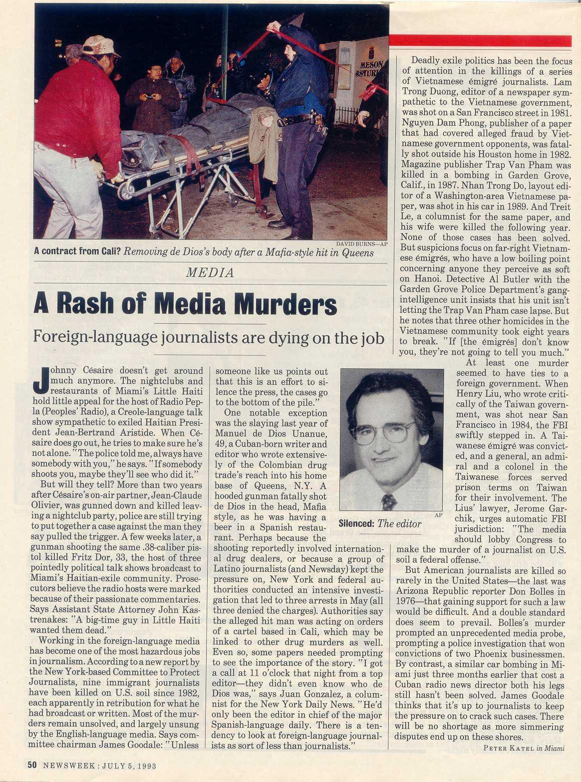 Peter Katel in Miami –  NEWSWEEK Magazine (1993)