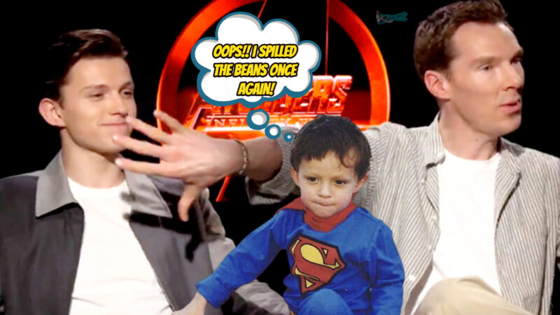 Benedict Cumberbatch baby sitting Tom Holland