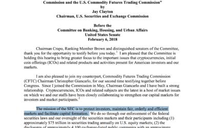 SEC Testimony on Virtual Currencies – Feb.6, 2018