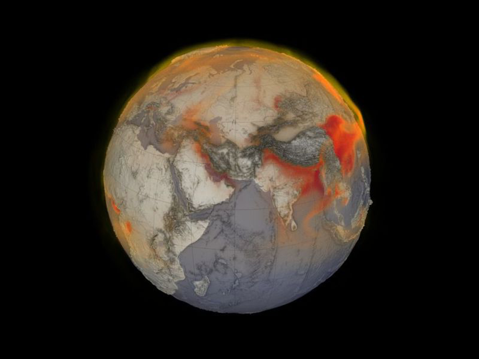 A visual representation of global methane from January 26, 2018. Red areas indicate higher concentrations of methane swirling in the atmosphere. (Cindy Starr, Kel Elkins, Greg Shirah and Trent L. Schindler, NASA Scientific Visualization Studio)