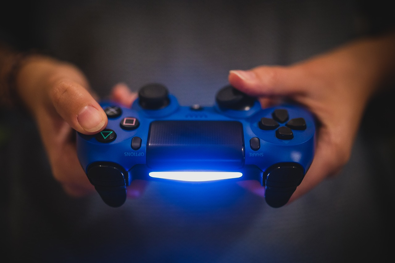 Blue Sony Playstation controller