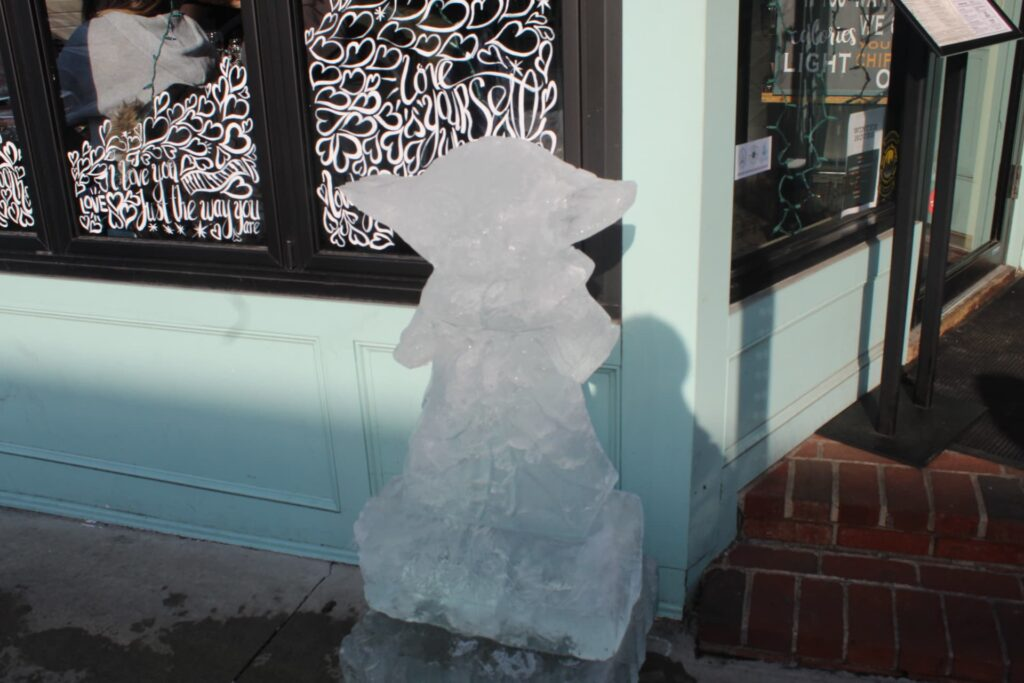 Baby Yoda carved in ice