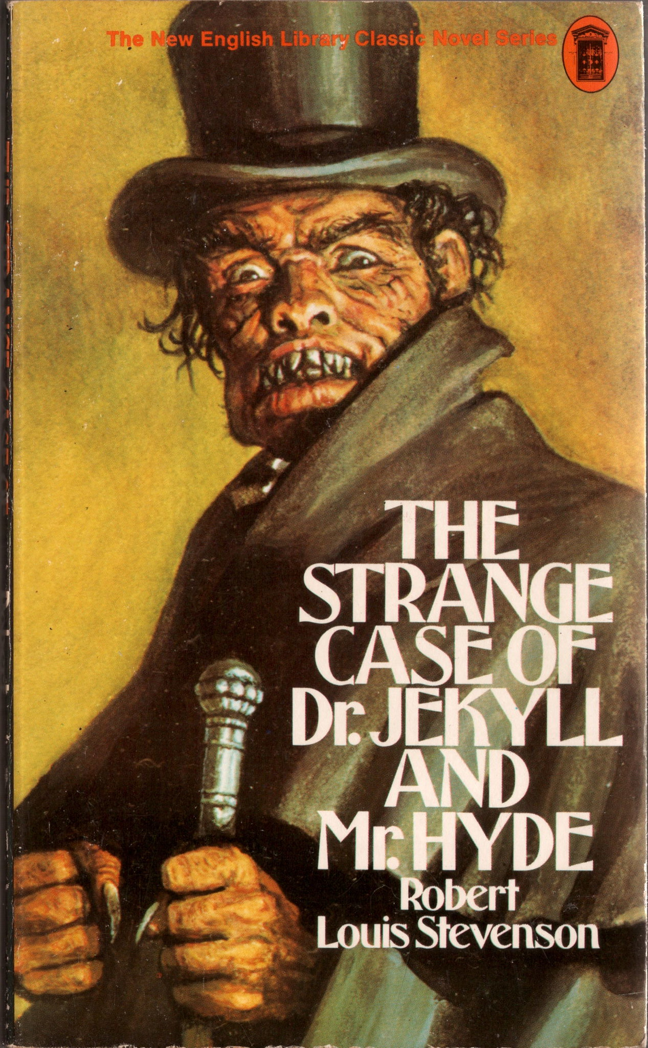 Cover of The Strange Case of Dr Jekyll and Mr Hide - a bestial man wears a top hat