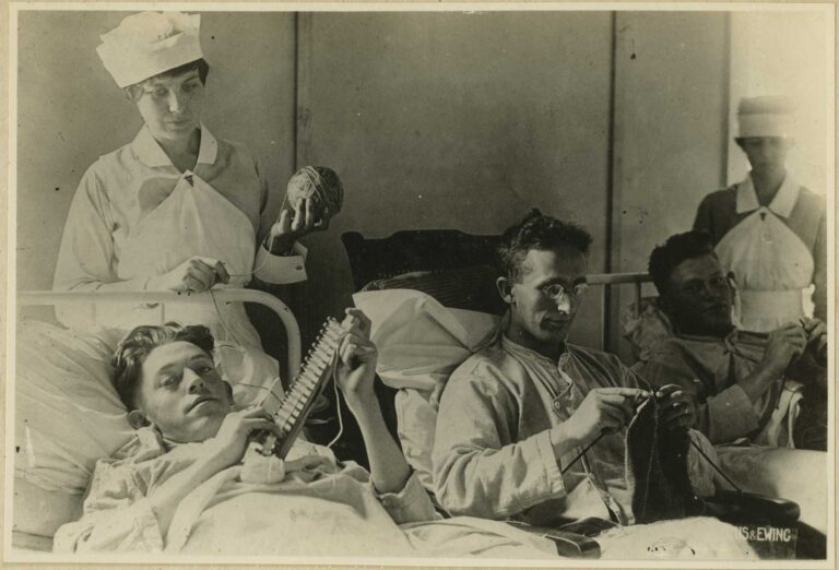 wounded soldiers doing fiber arts as occupational therapy