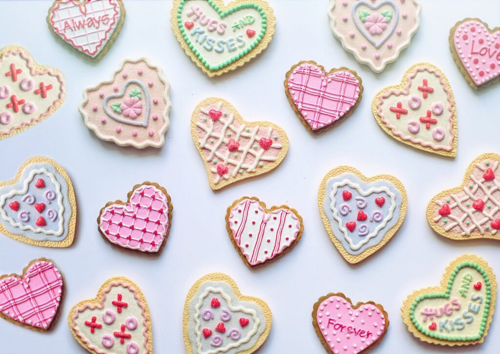 decorated heart cookies valentines day gtg