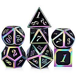 D & D polyhedral rainbow metal dice set