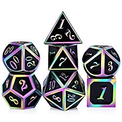 D & D polyhedral rainbow metal dice set