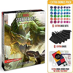 DnD starter set plus dice, dice bags, and