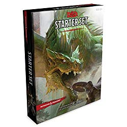 The Cover of the Dungeons and Dragons Starter Set, including the Lost Mines of Phandelver. A huge, green dragon lunges at a fighter, mouth open