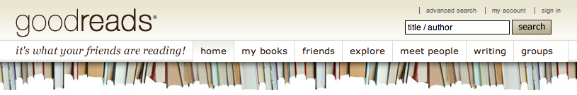Goodreads logo and menus
