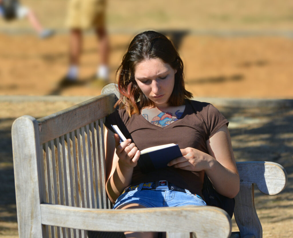 Person reading on a bench