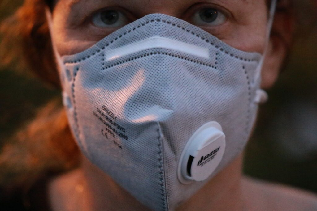 Person wearing mask for covid19 safety