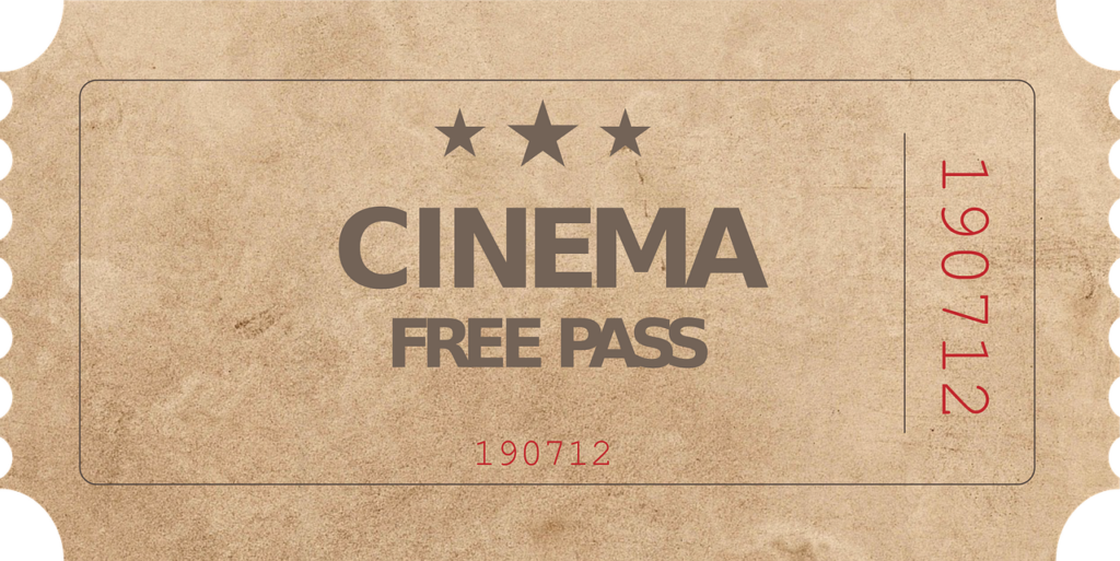 Ticket Stub that says Cinema free pass