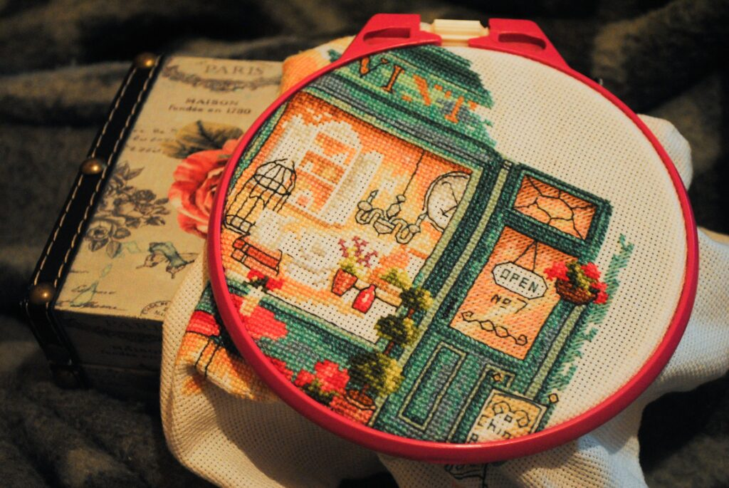 cross stitch hoop with finished pattern
