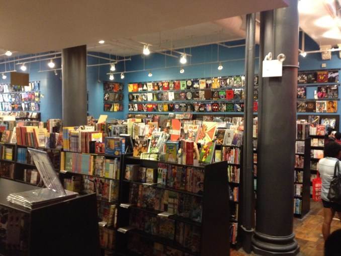 Shelves of books and manga in Forbidden Planet in Manhattan