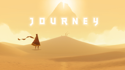 Title image for Journey game with text and main character