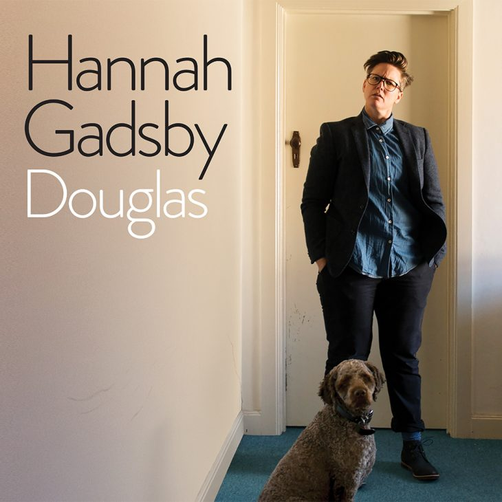 Hannah Gadsby Douglas promo pic with Hannah and dog
