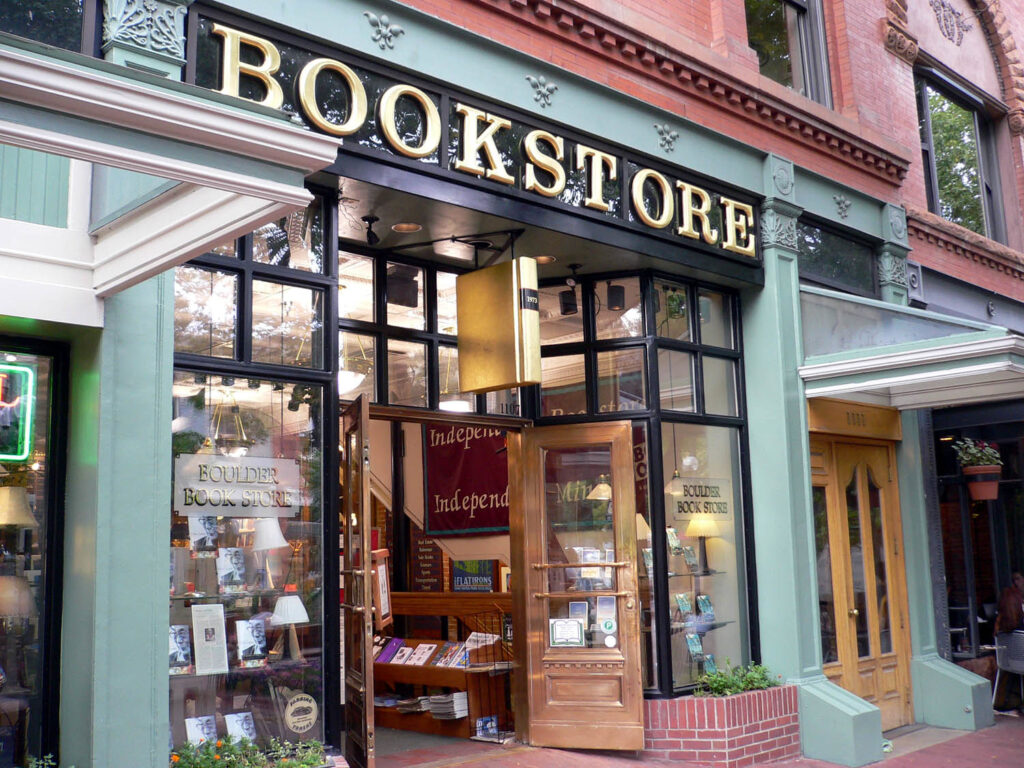 Indie bookstore with open doors