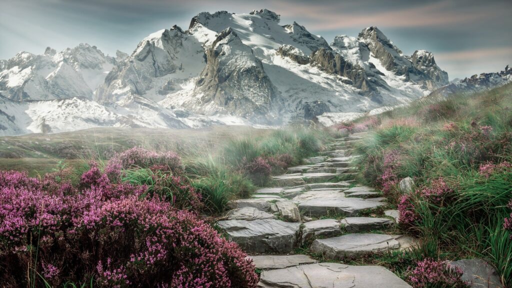 mountain landscape and concrete path