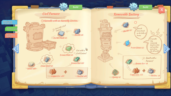 Open books showing instructions for how to make items in My Time at Portia