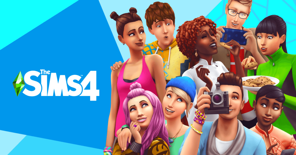 Group of Sims characters with Sims4 logo next to them